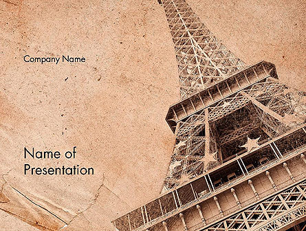 Eiffel Tower Vintage Postcard Style Presentation Template, Master Slide