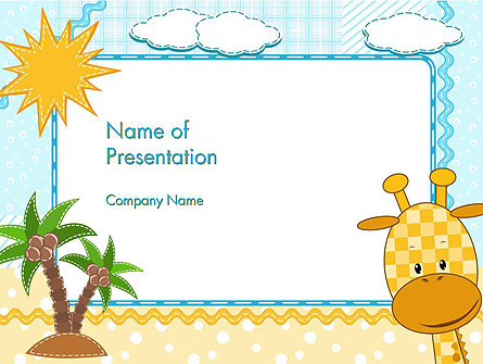 Children`s Photo Framework with Giraffe Presentation Template, Master Slide