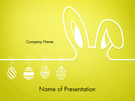 Happy Easter Background with Ears Rabbit and Eggs Presentation Template, Master Slide
