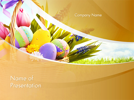 Basket with Easter Eggs Presentation Template, Master Slide