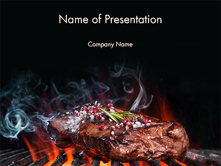 Beef Steak On Grill Presentation Template, Master Slide