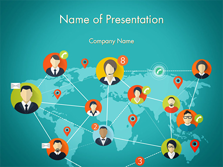 Social Connections on Word Map Presentation Template, Master Slide