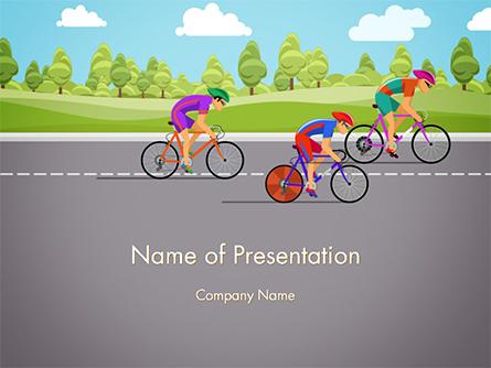 Bicycle Race Illustration Presentation Template, Master Slide