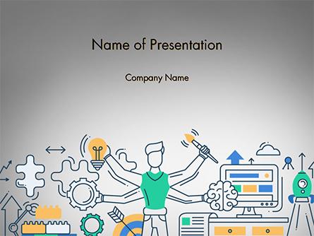 Creative Process Line Design Presentation Template, Master Slide