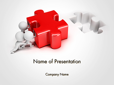 3D Small People Pushing Puzzle Presentation Template, Master Slide