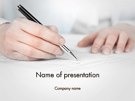 Business Woman Signing Contract Presentation Template, Master Slide