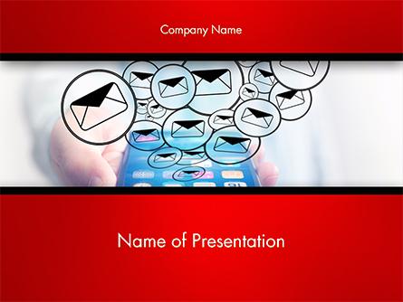 Man Checking Email in Smartphone Presentation Template, Master Slide
