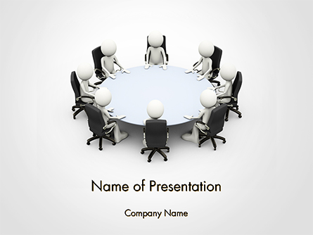 3D Business People Sitting Around a Conference Table Presentation Template, Master Slide