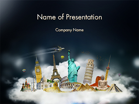Cloud Full of Famous Monuments Presentation Template, Master Slide