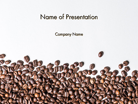Scattered Coffee Beans Background Presentation Template, Master Slide