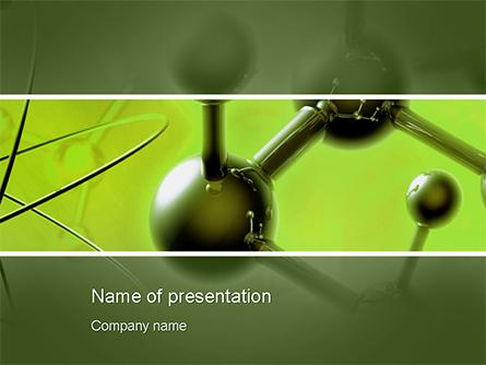 Molecular Lattice In Green Colors Presentation Template, Master Slide