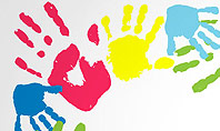 Frame Made of Colorful Handprints Presentation Template