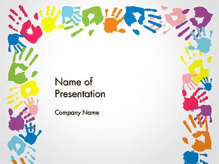 Frame Made of Colorful Handprints Presentation Template, Master Slide