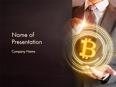 Businessman Control with Bitcoin Technology Presentation Template, Master Slide