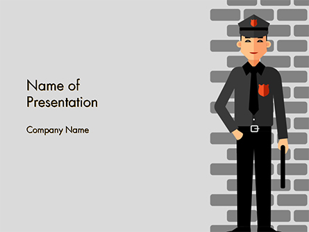 Security Guard Illustration Presentation Template, Master Slide