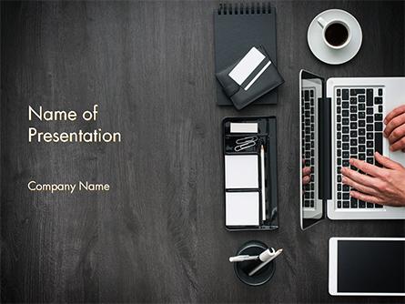 Manager is working at Office Desk Presentation Template, Master Slide
