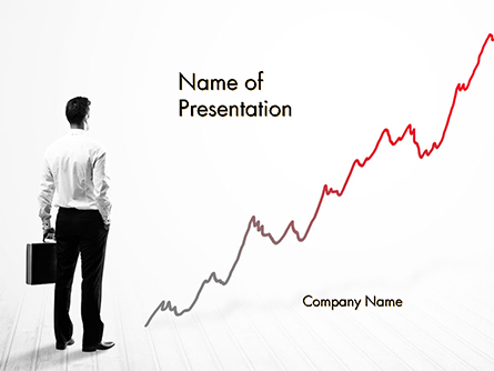 Business Person Looking at Growing Graph Chart Presentation Template, Master Slide