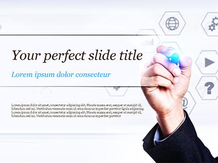 Businessman Drawing on Virtual Screen Presentation Template, Master Slide