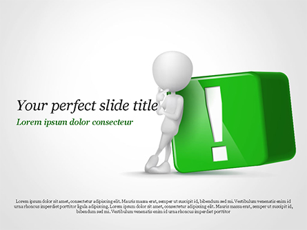 3D Human And Green Exclamation Mark Cube Presentation Template, Master Slide