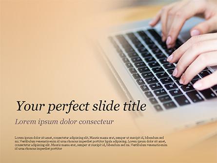 Female Hands Typing on Keyboard Presentation Template, Master Slide
