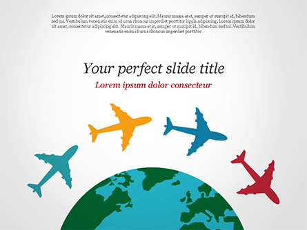 Airplane Travel Concept Presentation Template, Master Slide
