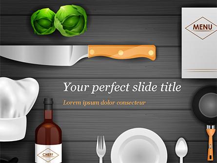 Kitchen Utensil Illustration Presentation Template, Master Slide