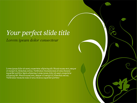 Florid Green Frame Presentation Template, Master Slide