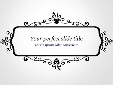 Black Floral Thin Frame Presentation Template, Master Slide