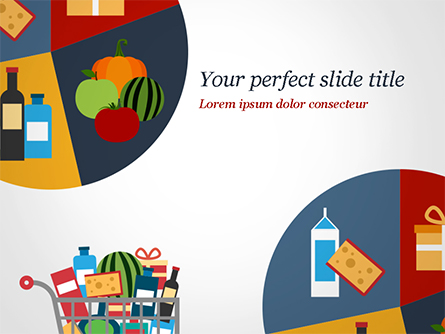 Shopping Trolley of Food Presentation Template, Master Slide