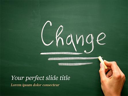 Blackboard Concept for The Word Change Presentation Template, Master Slide