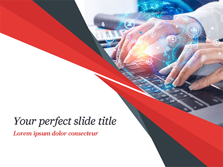 Woman Using Laptop to Connect Social Network Presentation Template, Master Slide