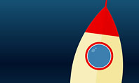 Cartoon Flying Rocket Presentation Template