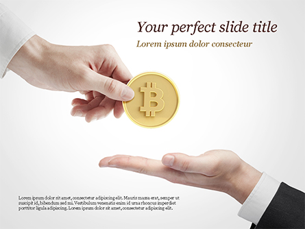 Hand Giving Bitcoin Presentation Template, Master Slide