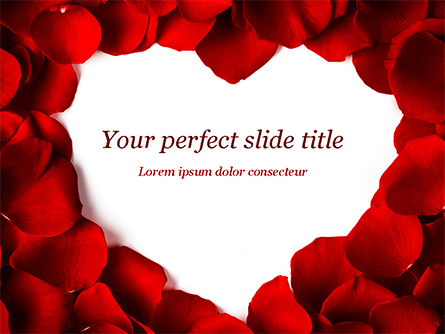 Beautiful Heart of Red Rose Petals Presentation Template, Master Slide