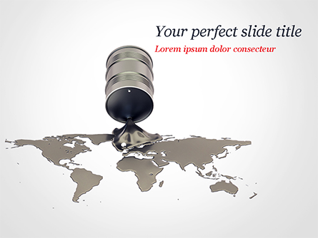 Crude Oil Spilled in the Shape of Earth Map Presentation Template, Master Slide