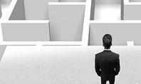 Businessman Staring at Infinite Maze Presentation Template