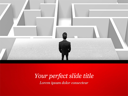 Businessman Staring at Infinite Maze Presentation Template, Master Slide