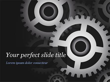 Metal Realistic Cogwheels Presentation Template, Master Slide