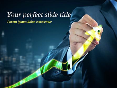 Businessman Drawing Growing Graph Presentation Template, Master Slide