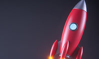 Red Rocket Launching Presentation Template