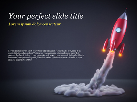 Red Rocket Launching Presentation Template, Master Slide