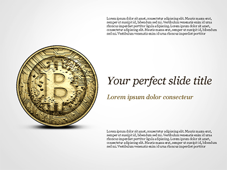 Gold Coin with Bitcoin Sign Presentation Template, Master Slide