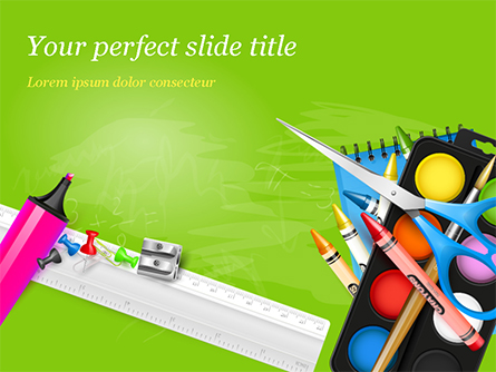 School Supplies on Green Background Presentation Template, Master Slide