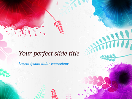 Watercolor Flowers Presentation Template, Master Slide
