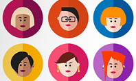 Avatar Icons in Flat Design Presentation Template