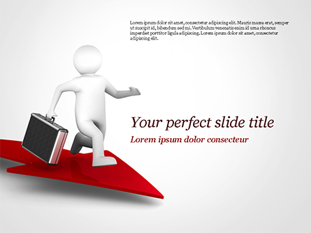 3D Businessman Runs on the Red Arrow Presentation Template, Master Slide