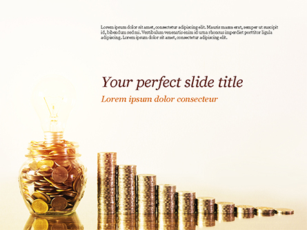 Golden Coins Stacks and Light Bulb Presentation Template, Master Slide
