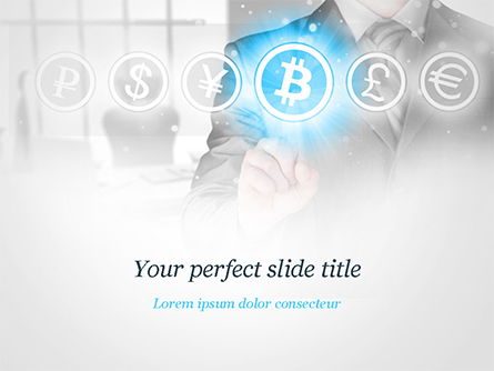 Man Pressing Bitcoin Icon Presentation Template, Master Slide