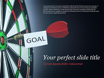 Dart with Goal Text Presentation Template, Master Slide