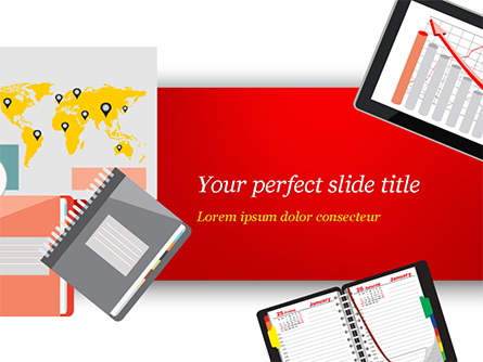 Top View of Working Place Elements Presentation Template, Master Slide